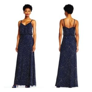 Adrianna Papell art deco blouson beaded gown